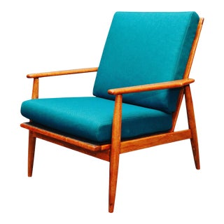 1970s Vintage Curated Danish Walnut Arm Lounge Chair For Sale