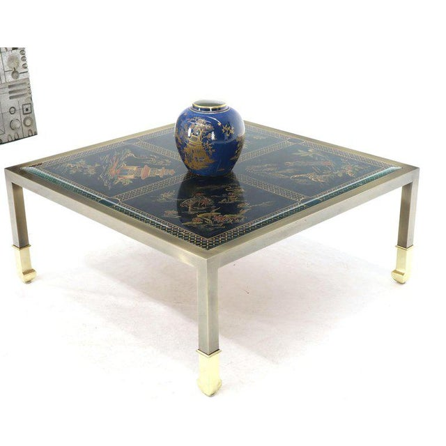 Brass and Gold Decorated Reverse Painted Glass Top Square Coffee Table For Sale - Image 4 of 13