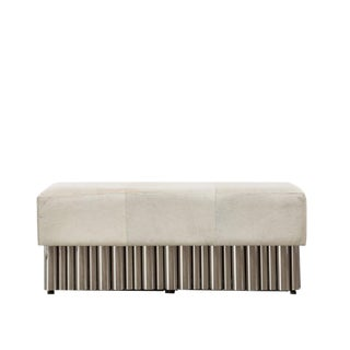 Cream Hair on Hide Bench - Large For Sale