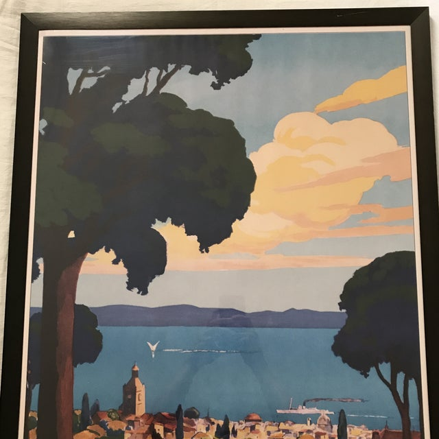Large vintage reproduction travel print of Evian Les Bains region in France. Printed in full color on heavy stock paper,...