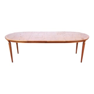 Romweber Mid-Century Modern Cherry and Burl Wood Extension Dining Table, 1960s For Sale