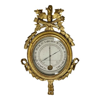 French 18th Century Louis XVI Period Giltwood Barometer For Sale
