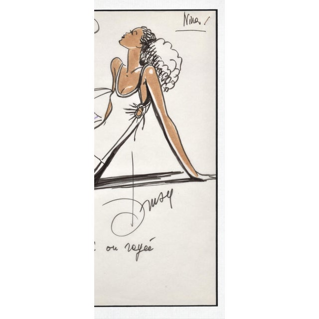 1980s Rare Original 1980's French Fashion Drawing-Summer Beach Cruise Wear For Sale - Image 5 of 6