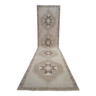 Distressed Oushak Rug Runner Faded Colors Low Pile Wide Long Runner - 3'7″ X 15'10″ For Sale