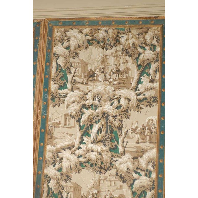 Brown French 19th Century Zuber Style Four-Panel Paper on Canvas Screen For Sale - Image 8 of 11