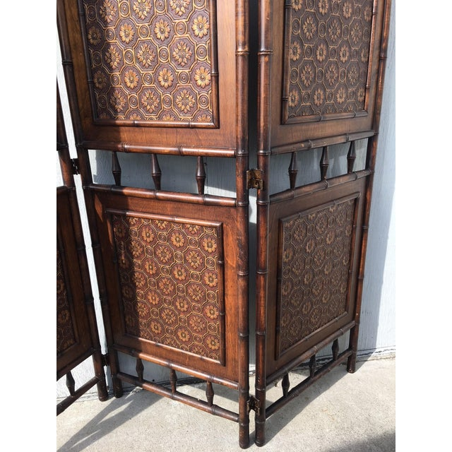 Arts and Crafts Victorian Faux Bamboo Tile Mosaic Room Divider Privacy Screen For Sale - Image 4 of 11