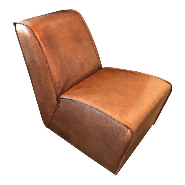 Restoration Hardware Rh Leather Bruno Lounge Chair For Sale