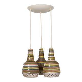 MCM Italian Ceramic Triple Pendant Ceiling Light Attributed to Alvino Bagni for Raymor For Sale