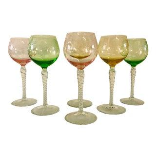 Vintage 1960s Multi-Color Grape & Vine Tall Wine Stems, Set of 6 For Sale