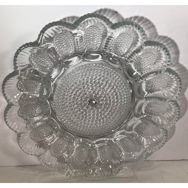 Vintage Clear Patterned Glass Egg Plate For Sale In Dallas - Image 6 of 7