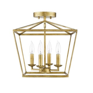 Ponce City 4 Light Semi-Flush Pendant, Gilded Gold or Pendant For Sale