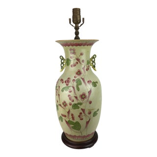 Green 1970s Blossom and Lotus Motif China Vase Lamp For Sale