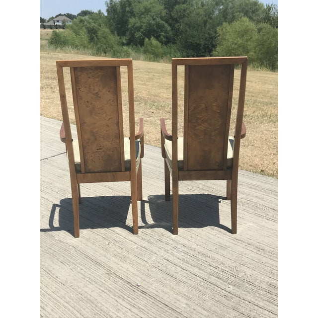 Late 20th Century Vintage Thomasville Burled Wood Highback Arm Chairs - a Pair For Sale - Image 5 of 6
