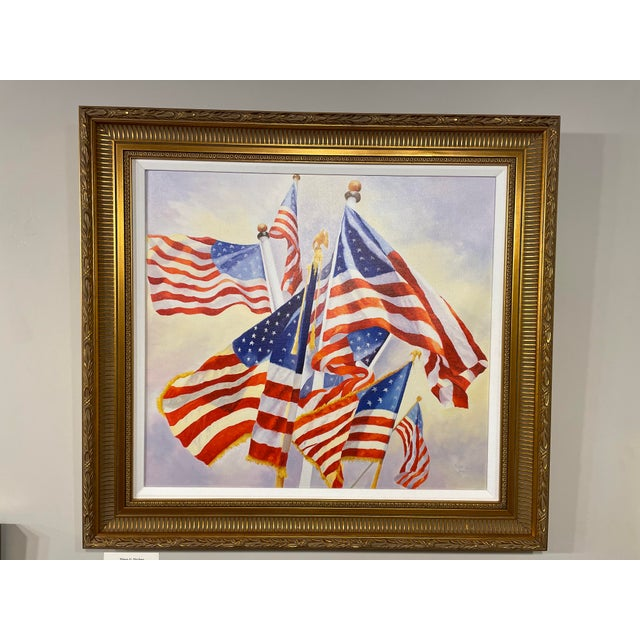 """Early 21st Century """"Stars and Stripes"""" Contemporary American Flag Giclee by Debbie Hearle, Framed For Sale - Image 5 of 5"""