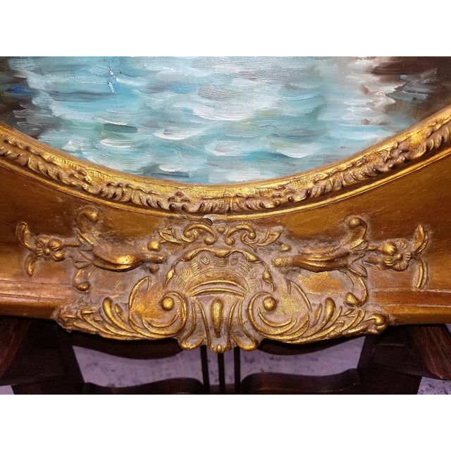 Oil on Canvas of Venetian Scene in Ornate Giltwood Frame For Sale - Image 9 of 12
