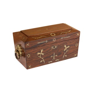 Circa 1830 Brass Inlaid Tea Caddy For Sale