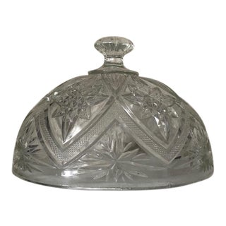 Large Oval Pressed Glass Food Dome Cloche For Sale