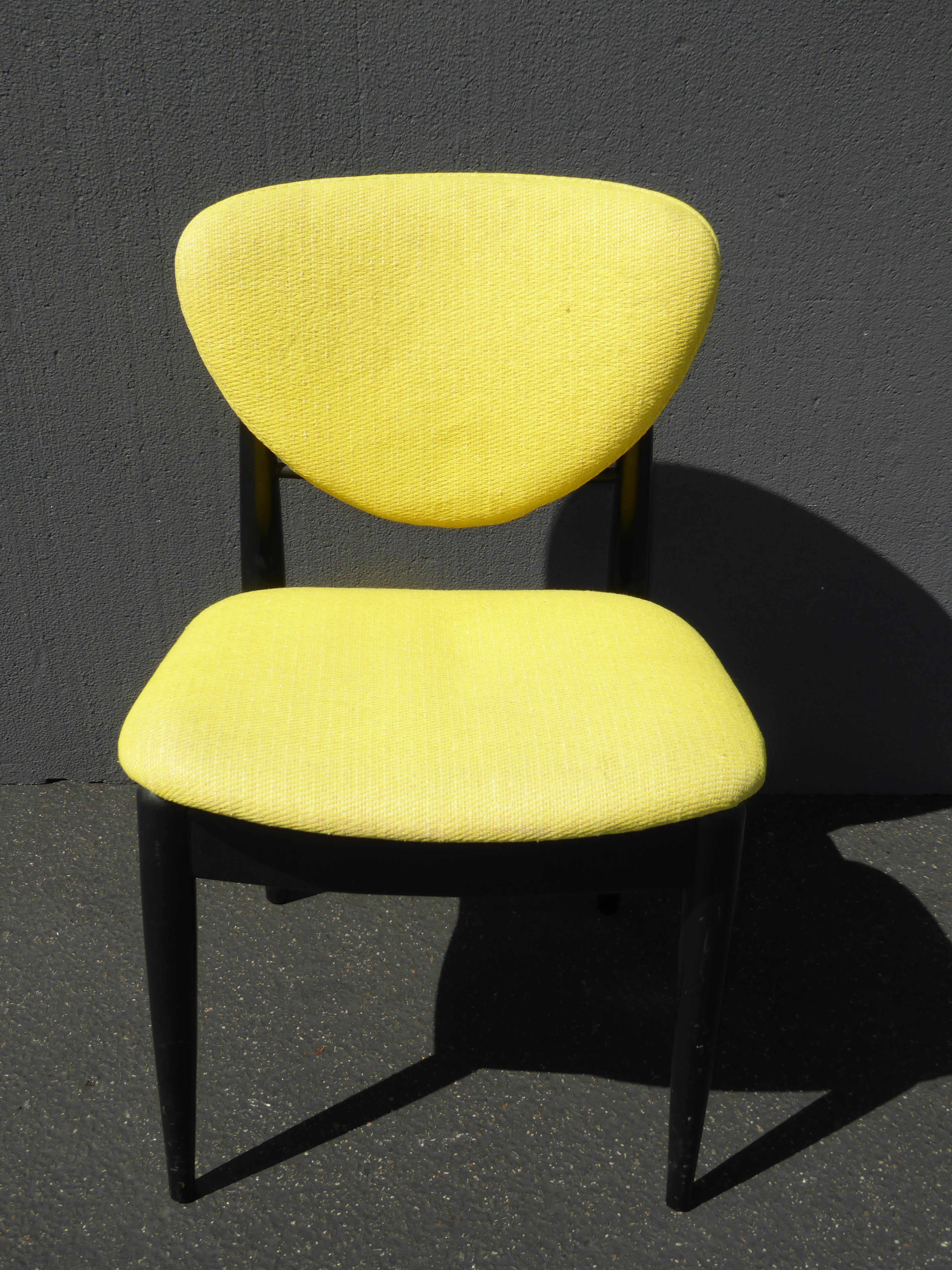 Set of Four Vintage Mid Century Modern Yellow u0026 Black Accent Chairs For Sale In Los  sc 1 st  Chairish & Set of Four Vintage Mid Century Modern Yellow u0026 Black Accent Chairs ...