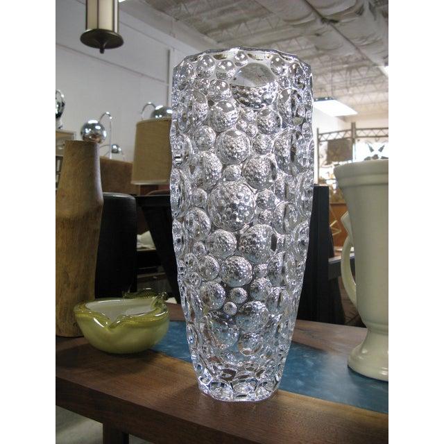 Transparent 1990s Czech Vase Bubble Thumbprint Bohemia Glass For Sale - Image 8 of 10