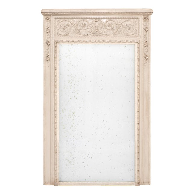 French Antique White Trumeau Mirror For Sale - Image 10 of 10