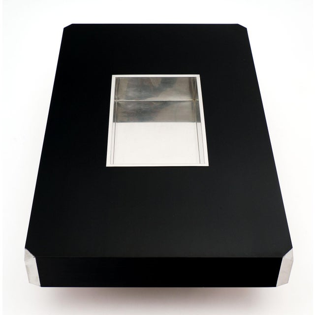 Italian Vintage Ebonized Coffee Table With Chrome by Willy Rizzo For Sale In Austin - Image 6 of 10
