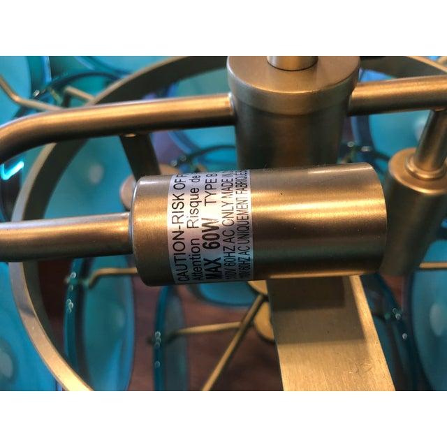 2010s Regina Andrew Design Natural Brass and Aqua Four-Light Chandelier For Sale - Image 5 of 13