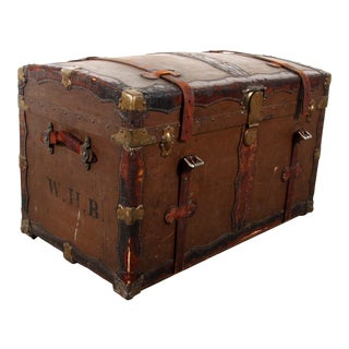 Antique American Late 19th C. Leather Bound Steamer Trunk For Sale
