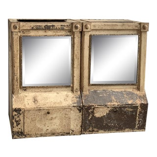 Late 1800s Tole Painted Mercantile Tea Dispensers With Original Beveled Mirror - Set of 2 For Sale