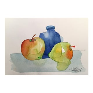 Still Life Blue Bottle, Original Watercolor