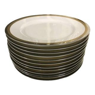 Vintage Fitz & Floyd Platinum and Gold Rims Plates - Set of 12 For Sale
