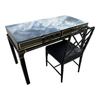 Beautiful Lacquered Desk Table Brass Accents by John Stuart For Sale