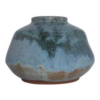 Signed & Dated Blue / Green Pottery Vase