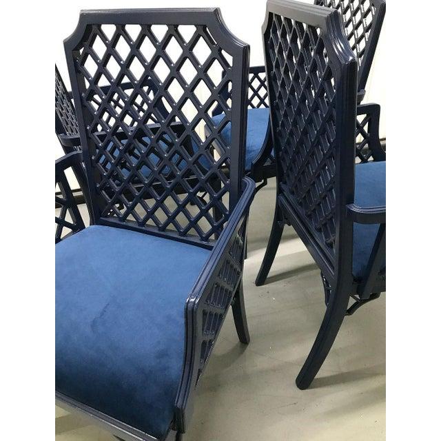 1960s Chinoiserie Lattice-Back Velvet Upholstered Armchairs - Set of 4 For Sale - Image 10 of 11