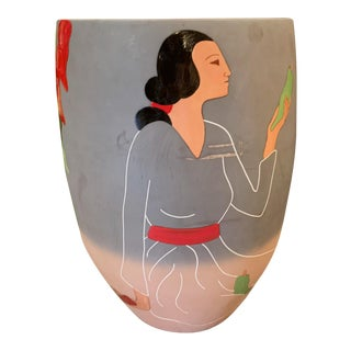 "Rc Gorman Ceramic ""Lady With Ristras"" Native American Artwork Vase For Sale"