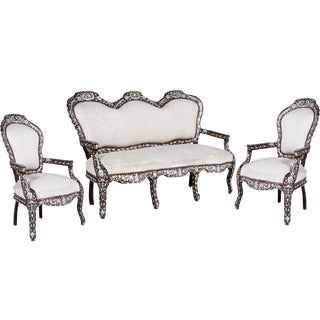 Mid 19th Century Moroccan Settee & Matching Arm Chairs - Set of 3 For Sale
