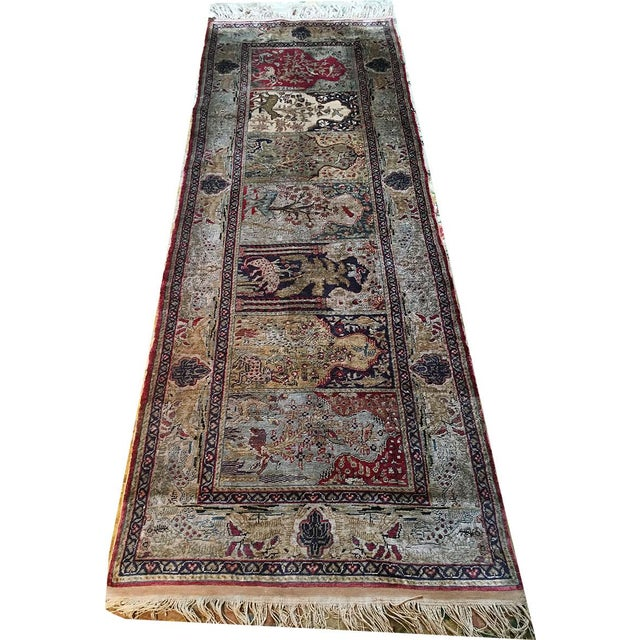 Silk Early 20th Century Antique Silk Turkish Saph Runner Rug - 2′7″ × 8′ For Sale - Image 7 of 9