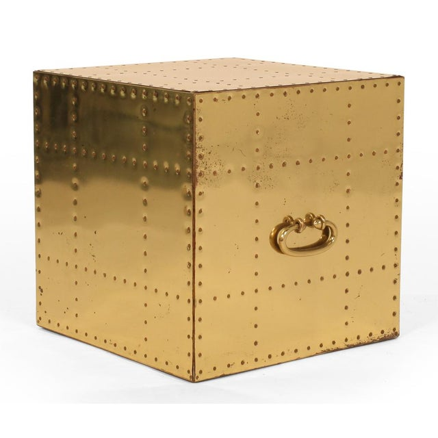 Sarreid Ltd. Sarreid, Ltd. Polished Brass Studded Cube Box Tables - a Pair For Sale - Image 4 of 7