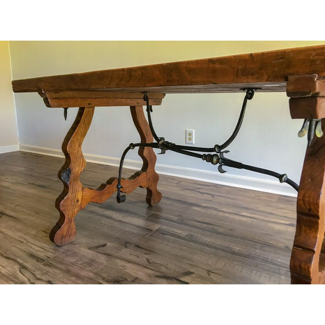 Metal 19th Century Spanish Trestle Table Desk With Iron Stretcher For Sale - Image 7 of 13