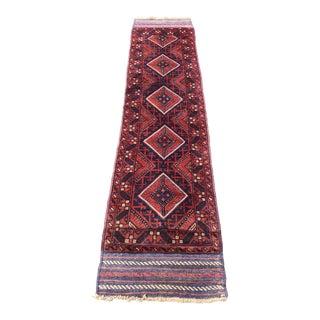 Vintage Mid-Century Hand-Knotted Afghan Mushwani Runner Rug - 8′9″ × 2′1″ For Sale