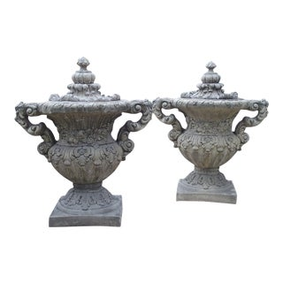 Pair of Cast Renaissance Style Lidded Outdoor Vases From France For Sale