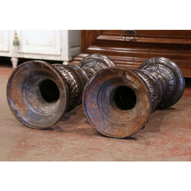 19th Century French Polished Iron Pedestals Attributed to j.j. Ducel - a Pair For Sale - Image 12 of 13