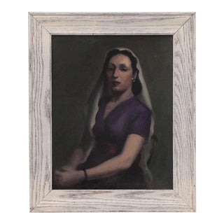 Mid 20th Century Oil on Canvas Portrait of a Veiled Lady For Sale