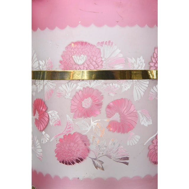 Nickel Victorian Harp Lantern with Original Floral Pink Glass For Sale In Boston - Image 6 of 12