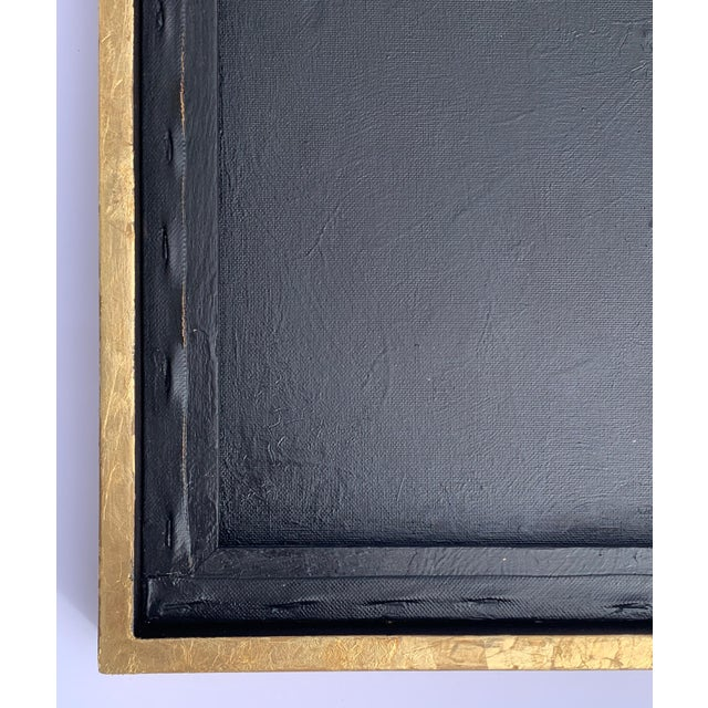 Paint Minimal Abstract Black and Tan Framed Painting For Sale - Image 7 of 11
