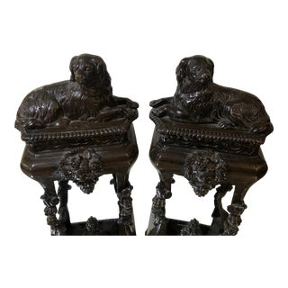 Pair of Antique French Bronze Dog Form Chenets For Sale