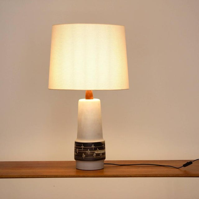 Medium size table lamp by Martz in excellent condition with new shade and ceramic with no chips! Wiring is in good...