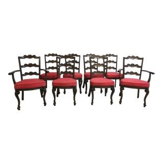 Jamestown French Oak Carved Dining Chairs - Set of 8 For Sale