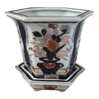 Chinese Imari Style Porcelain CachePot For Sale