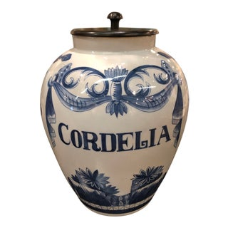 """Cordelia"" Blue and White Wood Cover Jar For Sale"