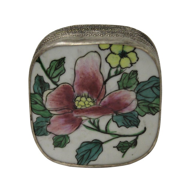 Chinese Floral Porcelain Nickel Trinket Box For Sale